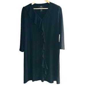 Nina Leonard Black Sweater Dress Midi Fall Work